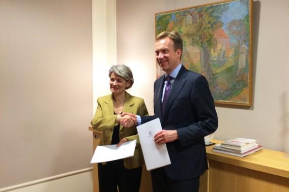 UNESCOs toppsjef og Børge Brende. Foto: Gry Ulverud